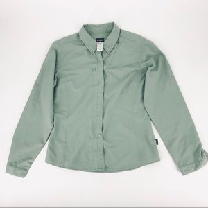 Patagonia Top Womens Light Green Snap Button Up